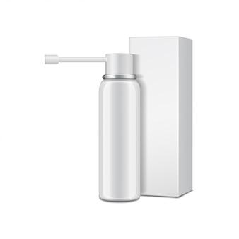 Frasco de aluminio blanco con pulverizador para spray oral y caja de cartón.