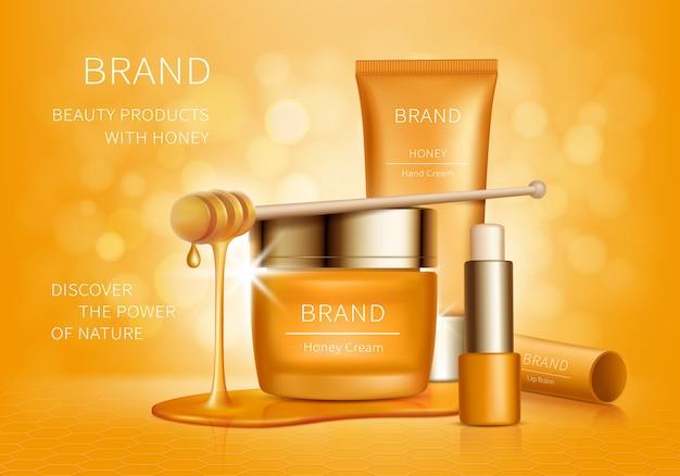 Frasco amarillo con crema, tubo de loción y lápiz labial higiénico con gotas de miel, cosméticos orgánicos