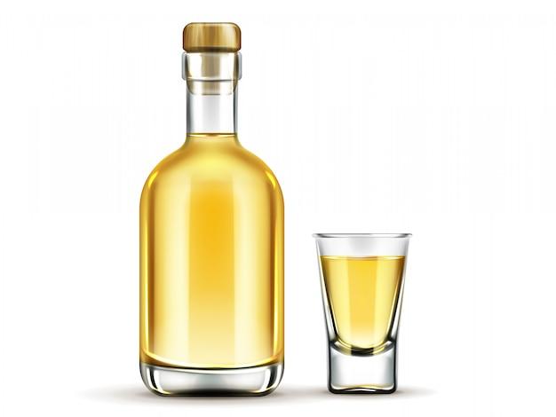 Frasco de bebida de alcohol mexicano con corcho aislado en blanco