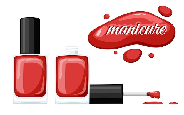 Frasco de esmalte de uñas redondo rojo brillante con tapón negro. ilustración sobre fondo blanco. concepto de manicura. botella abierta y gota de esmalte de uñas.