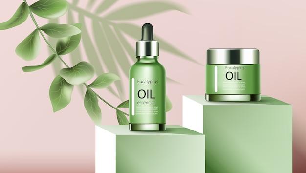 Un frasco y un gotero con aceite esencial de eucalipto.