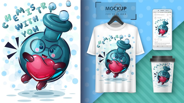 Frasco con ilustración de corazón y merchandising
