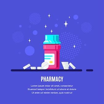 Frasco de medicina y pastillas sobre fondo azul. medicamentos, concepto farmacéutico. ilustración de estilo plano.