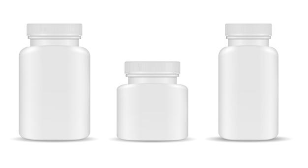 Frasco de pastillas envase de suplemento de plástico en blanco.