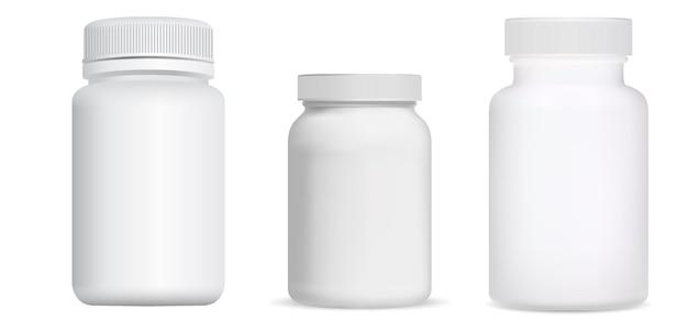 Frasco de pastillas. paquete de vitamina en blanco, tarro de suplemento. contenedor de cápsulas médicas, tabletas de medicamentos, primer plano de productos farmacéuticos diseño de productos farmacéuticos limpios, medicamentos que curan antibióticos.