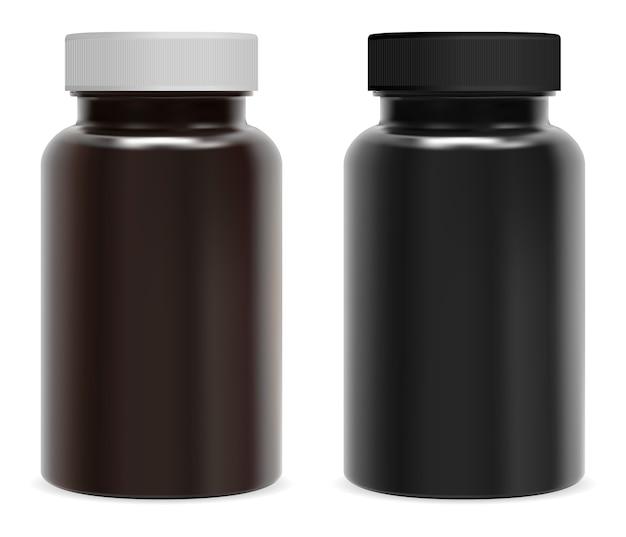 Frasco de pastillas de suplemento. frasco negro brillante marrón para medicina en cápsula de vitamina.