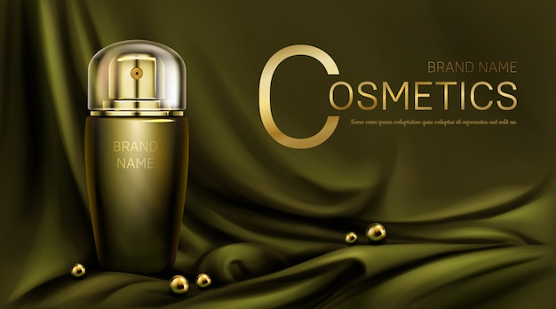 Frasco de perfume en pancarta dorada de tela de seda verde oliva