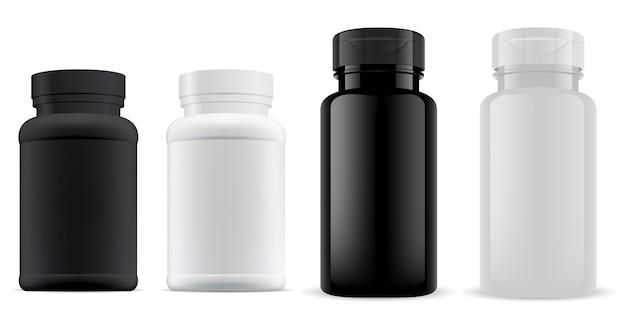 Frasco de píldoras tarro de suplemento plástico 3d en blanco, envase de cápsula de medicina