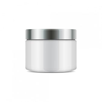 Frasco redondo de plástico con copa de plata para cosméticos.