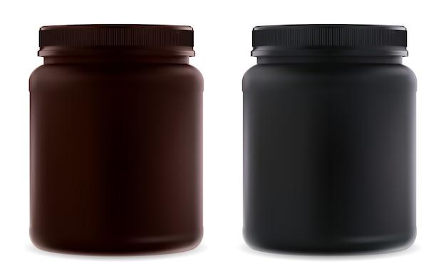 Frasco de suplemento en blanco. botella de proteína negra. envase de suero en polvo.