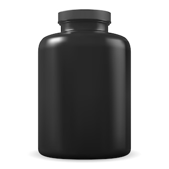Frasco de suplemento negro. tarro de plástico de proteína deportiva en blanco. envase de vitamina bcaa o aminoácidos. la píldora médica de culturismo puede aislado sobre fondo blanco. paquete de cilindro de caseína de suero