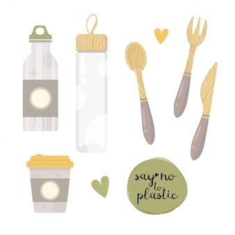 Frasco de vacío con cero elementos de desecho, botella de vidrio, cerámica. sin plástico. ir verde.