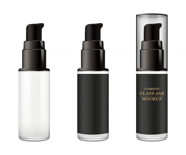 Frasco de vidrio blanco realista con tapa de plástico para cosméticos.
