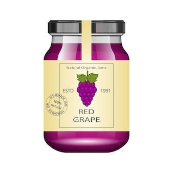 Frasco de vidrio con mermelada de uva y configurar. colección de envases. etiqueta vintage para mermelada. banco realista.
