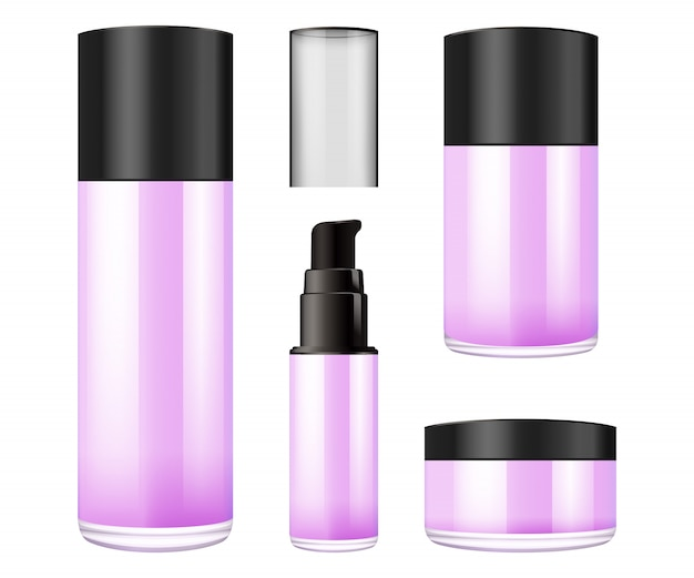 Frasco de vidrio morado realista con tapa de plástico para cosméticos.