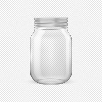 Frasco de vidrio vacío realista vector para enlatar y conservar con tapa plateada closeup aislado sobre fondo transparente. plantilla de diseño para publicidad, marca, maqueta. ilustración eps10.