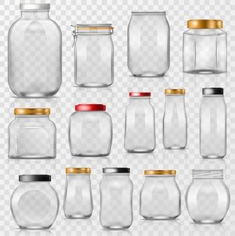 Frasco de vidrio vector vajilla de albañil vacía con tapa o tapa para enlatar y preservar ilustración conjunto de vaso o recipiente de vidrio aislado en transparente