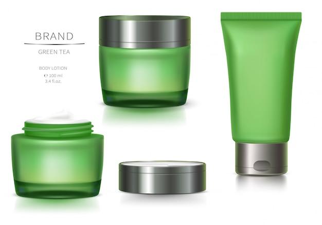 Frasco de vidrio verde y tubo de plástico.