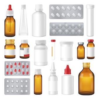 Frascos farmacéuticos paquetes pastillas realista conjunto