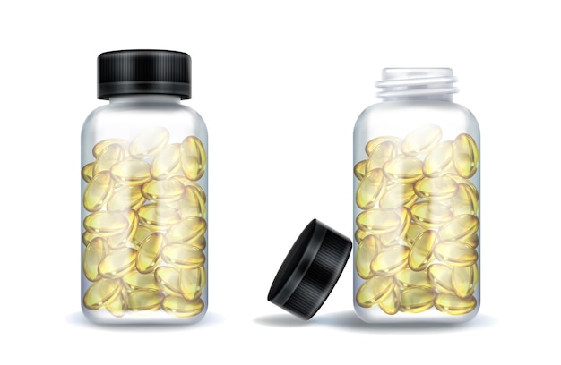 Frascos de medicina con cápsulas de color amarillo claro aislado en blanco