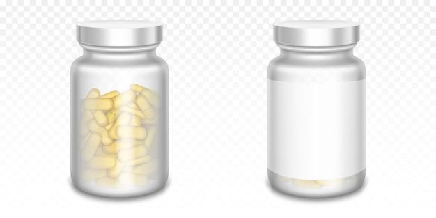 Frascos de medicina con pastillas amarillas aisladas en transparente