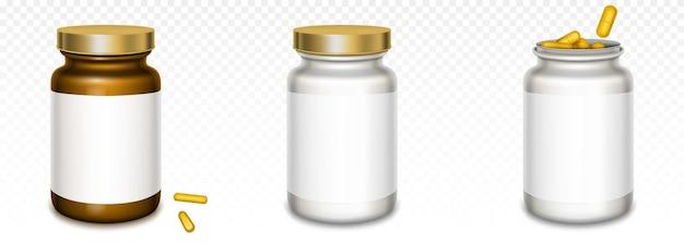 Frascos de medicina con tapas doradas y pastillas amarillas aisladas en transparente