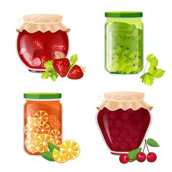 Frascos de mermelada. postre de frutas saludables de azúcar de mermelada en ilustración de olla