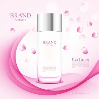 Frascos de perfume de pétalos de rosa rosa en abstracto