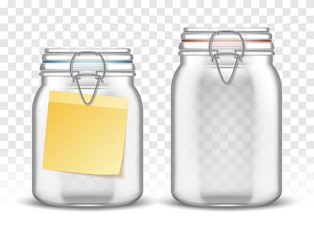 Frascos superiores de paca de vidrio con nota de papel