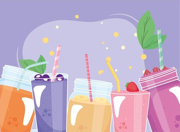 Frascos y vasos de batidos de frutas