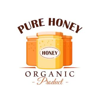 Frascos de vidrio con miel sobre fondo blanco. etiqueta de miel, logotipo, concepto de emblema. ilustración