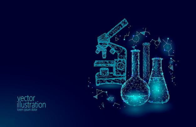 Frascos de vidrio químico de baja poli ciencia. equipo mágico