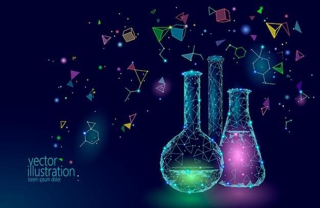 Frascos de vidrio químico de baja poli ciencia, equipo mágico