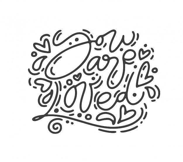 Frase de caligrafía monoline vector eres amado.