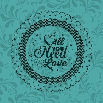 Frase de actitud sobre el amor dentro del icono de marco. motivación de inspiración y tema positivo. ornamental