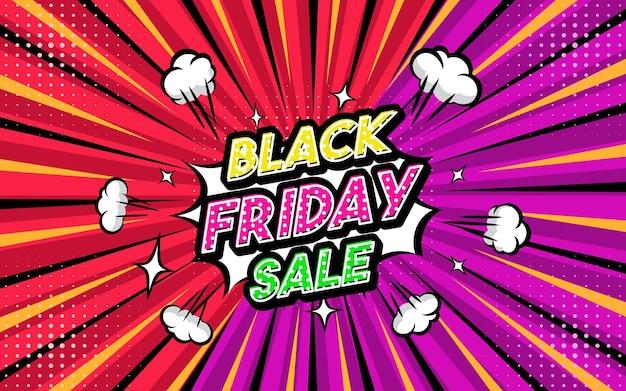 Frase de estilo de arte pop de venta de viernes negro estilo cómico