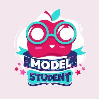 Frase de estudiante modelo con ilustración colorida. cotización de regreso a la escuela