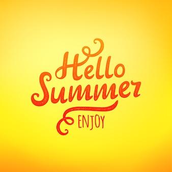 Frase hola verano, inscripción de tipografía sobre fondo amarillo. ilustración