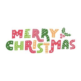 Frase de letras adornadas de feliz navidad