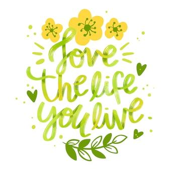 Frase motivacional con flores