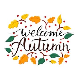 Frase de pincel moderno bienvenido otoño. fondo con la imagen de una caída de hojas.