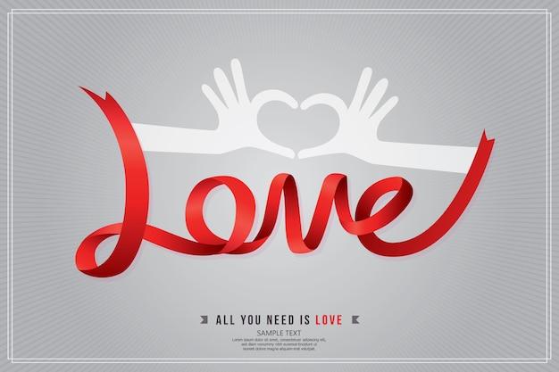 Fraseología del amor de la cinta roja y corazón de la mano, fondo gris