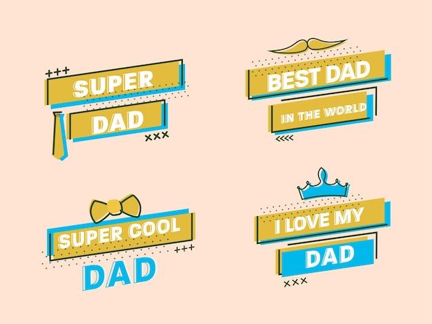 Frases del día del padre feliz como súper papá, el mejor papá del mundo, súper guay y amo a mi papá