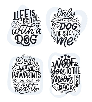 Frases divertidas dibujado a mano citas inspiradoras sobre perros