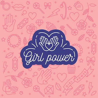 Frases de letras a mano relacionadas con el poder femenino y el movimiento feminista.