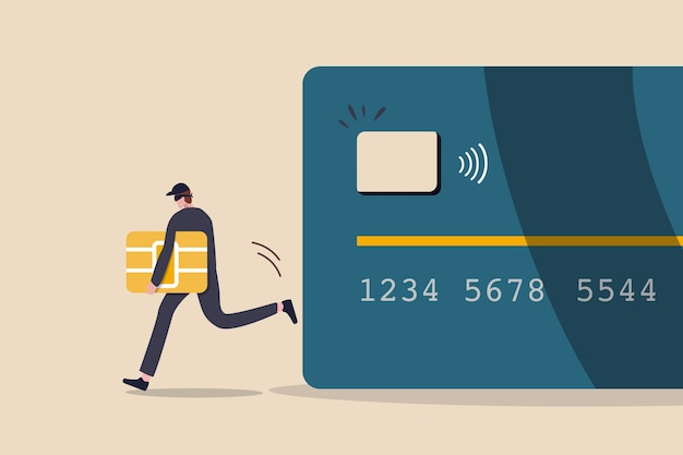 Fraude en la cuenta de pago con tarjeta de crédito o débito, pirata informático o suplantación de identidad delictiva para robar dinero en línea, datos o concepto de identidad personal, el ladrón de negro roba el barco inteligente de la tarjeta de débito o crédito.