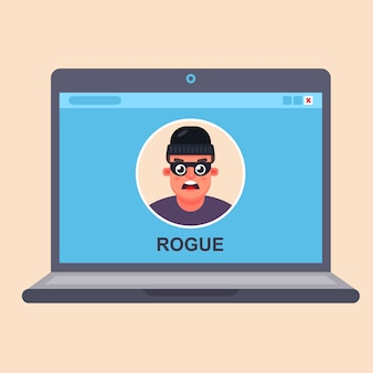 Fraude informático en internet. criminal en un monitor portátil. vector plano