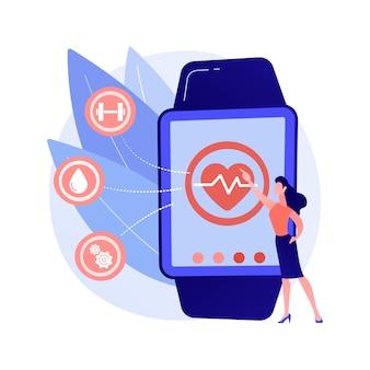 Frecuencia cardíaca en reloj inteligente. rastreador de pulso portátil. reloj de pulsera, reloj con pantalla táctil, aplicación de atención médica. asistente de fitness. gadget para hacer ejercicio. ilustración de metáfora de concepto aislado de vector.