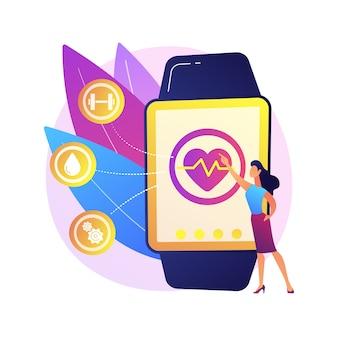 Frecuencia cardíaca en reloj inteligente. rastreador de pulso portátil. reloj de pulsera, reloj con pantalla táctil, aplicación de atención médica. asistente de fitness. gadget para hacer ejercicio. ilustración de metáfora de concepto aislado.