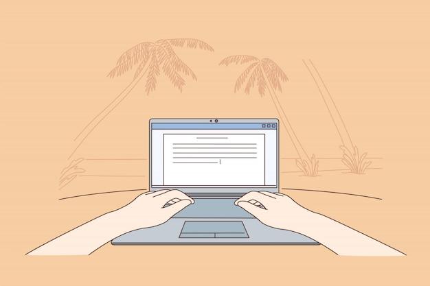 Freelance, codificación, comunicación, trabajo remoto, trópico, concepto de negocio